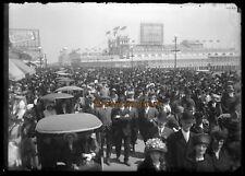1910s Atlantic City Boardwalk Crowds Steeplechase Pier Glass Photo Negative #3
