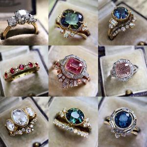 Large Cubic Zircon Rings Women Crystal Wedding Jewelry Luxury Party Gift Sz 5-11