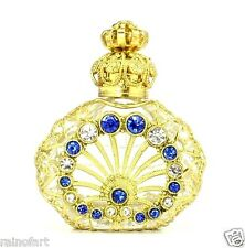 Vintage Jeweled Gold Tone Filigree Blue Crystal Perfume Bottle Handmade Gift