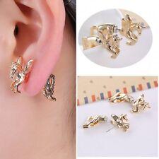 1 Pair Cool Punk Gold Tone Pegasus Horse Ear Stud Earrings Women Girl Jewelry