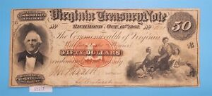 WPCoins ~ Virginia Treasury Note $50 Series B Oct 15th 1862