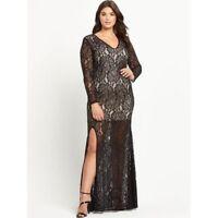 BNWT Forever Unique Curve Black Lace Kelsie Maxi Dress Size 22 RRP £230