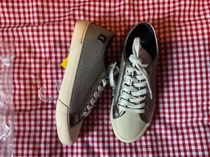 JOULES COAST PUMP FAUX LEATHER LACE UP TRAINERS - METALLIC - SIZE 5