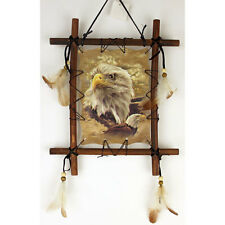 """11""""x 9"""" Eagles Head Dream Catcher Wall Hang Decor Feathers Framed Beads Eagle"""
