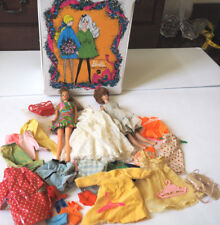 1968 BARBIE Doll Trunk & Vintage Clothes & 2 Vintage Barbie Dolls