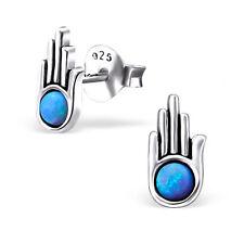 925 Sterling Silver & Blue Opal Hamsa Stud Earrings - Hand of God - Luck