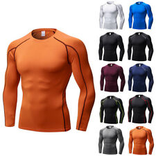 Mens Long Sleeve GYM Base Layer Compression Shirt Under Top Armour Bodybuilding