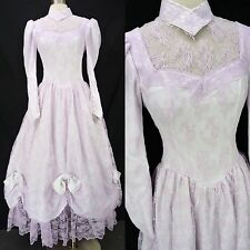 Vintage 80s Purple Lace Victorian Wedding Hoop Skirt Southern Belle Prom Dress S