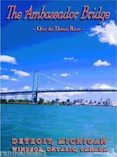 Ambassador Bridge Detroit Michigan United States Travel Advertisement Poster