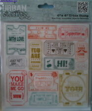 TICKET STUBS - HAPPY DAYS - LARGE BACKGROUND URBAN (CLING) STAMP - DOCRAFTS