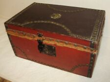 ANTIQUE DOCUMENT BOX RED AND BROWN LEATHER!