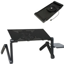 360°Adjustable Folding Laptop Notebook Desk Stand Bed + Cooling Fan Mouse Tray