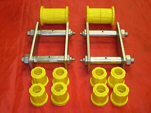 HOLDEN RA RODEO REAR SUSPENSION GREASABLE SPRING SHACKLES X 2  & POLY BUSH KIT