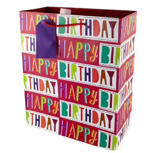 Happy Birthday Gift Bags Party Large 32*26cm Kraft Paper Present Shopping Bags