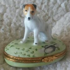 RARE HAND PAINTED ASTORIA PEINT MAIN NO. 1102 LIMOGES TERRIOR DOG PORCELAIN BOX