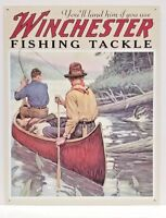 WINCHESTER FISHING TACKLE - COLLECTIBLE TIN METAL SIGN MADE IN USA NEW