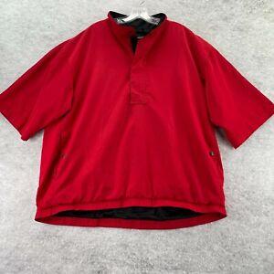 FootJoy DryJoy Men Red 1/4 Zip Short Sleeve Pullover Windbreaker Rain Jacket XL