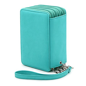 BTSKY PU Leather Colored Pencil Case with Compartments-72 Slots Handy Pencil for