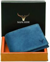 New RFID Protected Blue Leather Bi fold Wallet for Men