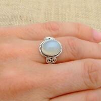 Small White cats Eye 925 Sterling Silver Ring Indian Jewellery