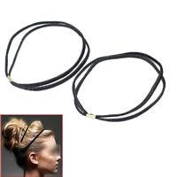 2 Pcs Women Lady Double Layer Elastic Stretchy Headband Hair Band Forehead Black