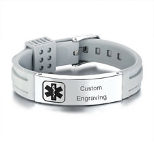 Gray Medical Alert ID Bracelet Silicone Band Wristband Personalized Engraving