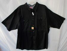 New Men's Wrangler Relaxed Fit Woven Short Sleeve Shirt Black 2XL 2TG  HSB8MHA