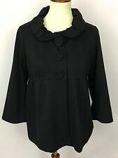 QVC Du Jour Black Ponte Knit 3/4 Sleeve Rolled Collar Empire Waist Jacket Size S
