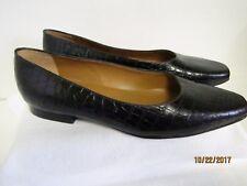 EUC Ralph Lauren Ladies Brown Crocodile Alligator Ballet Flats Shoes 9.5AA Nice!