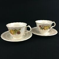 Set of 2 VTG Cups and Saucers by Metlox Fruit Basket Vernon Ware PoppyTrail USA