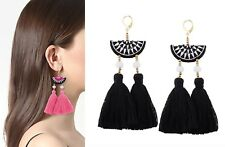 Anthropologie Black & White Watermelon Fabric Tassel Fringe Earrings Gold Beads