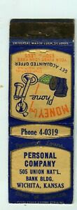 Personal Company, personal loans, money by phone, Wichita, KS Matchbook Cover