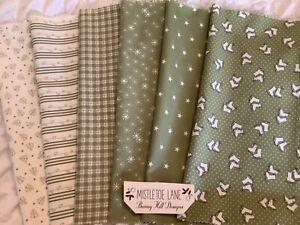 Moda 'Mistletoe Lane' Christmas cotton bundle - Green mix