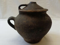 Antique Ceramic Crock Pot Black Vtg Farm Pottery Jug Cover Lid Handles Stoneware