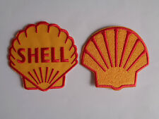2 Shell Oil Patches Sew On - Iron On Mechanic Overall Pit Crew Patch