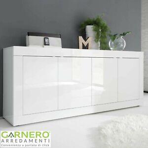 Madia 4 ante BASIC credenza moderna bianco lucido design casa cucina soggiorno