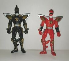 BANDAI MMPR MIGHTY MORPHIN POWER RANGERS  ACTION FIGURES RED & BLACK 2003 LOOSE