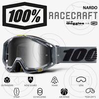 MASCHERA 100% RACECRAFT MX OCCHIALI MOTOCROSS NARDO LENTE SPECCHIO ARGENTO