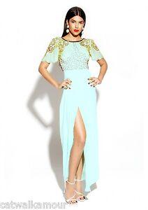 Virgos Lounge Mint V Back Embellished Wrap Bridesmaid Party Maxi Dress 8 to 14
