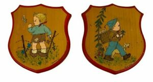 Vintage MCM Hand Painted Boys Dog Dragonfly Wood Wall hangings Baby Room Decor