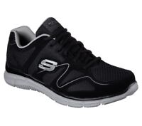 W Wide Fit Skechers Black Training Shoes Men's Gray Mesh 58350 BKGY Memory Foam