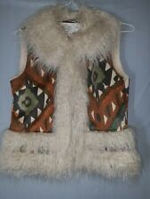 Donna Salyers Fabulous Furs Ivory Faux Lamb Fur Lined BoHo Aztec Hippie Vest XS