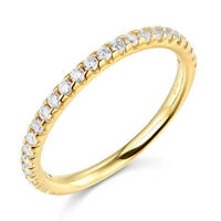 1.50 Ct Round Real 14k Yellow Gold Pavé Engagement Wedding Anniversary Band Ring