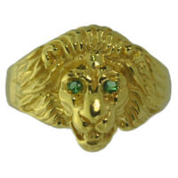 New Lion Ring Sterling Silver Jewelry Cat 24kt Gold Plated Emerald eyes stones