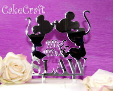 Acrylic mirrored Mickey Minnie Mouse Wedding, anniversary cake topper decoration