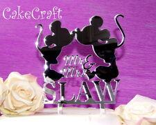 Acrílico Espejo Mickey Minnie Mouse Decoración de la boda, aniversario Cake Topper
