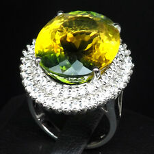 GREEN YELLOW AMETRINE RING OVAL 21.20 CT. SAPPHIRE 925 STERLING SILVER SZ 6.75