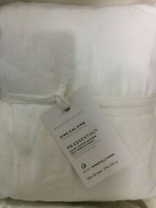 """Pottery Barn Essential Cotton & Linen King Bed Skirt NWT White 14"""""""