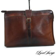 INCREDIBLE PATINA Vintage Green Fields Shafmaster Leather Co Brown Briefcase Bag