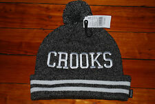 NEW Crooks and Castles Gray and White Striped Skull Beanie Hat
